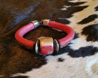 Red Licorice Leather With Horsehair Bracelet