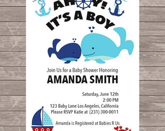 Donut birthday invitation jpeg file nautical baby shower invitation whale invitation jpeg file stopboris Image collections