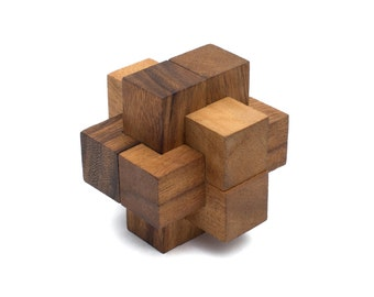 Wooden Toy : Burr Puzzle - The Organic Natural Puzzle Game Play for Baby and Kids