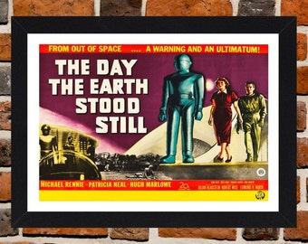 Framed The Day The Earth Stood Still Movie / Film Poster A3 Size Mounted In Black Or White Frame (Ref-2)
