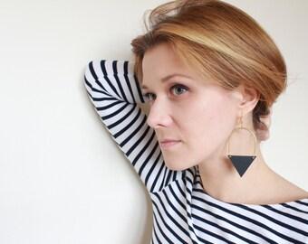 Black Triangle Earrings • Leather Earrings • Geometric Earrings • Brass Tube Earrings • Minimalist Jewellery • Upcycled Earrings • Modern