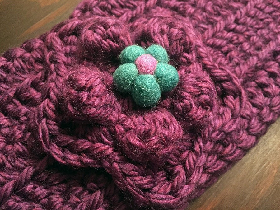Chunky Purple Crocheted Headband with Blue Felt Flower