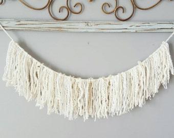 White and ivory Single tassel yarn garland / wedding, baby, shower decoration, room decor, wall decor, nursery, little girls decor,tea party