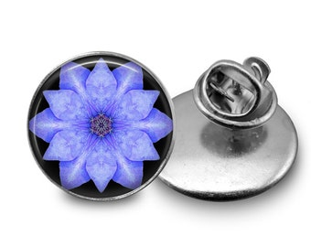 Blue Clematis  Glass Tie Tack 16mm Tie Pin Lapel pin