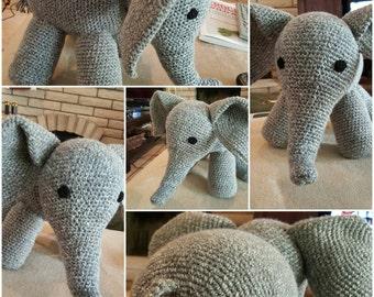 Grey Crochet Yarn Elephant