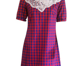 Red and Blue Checked 3/4 Sleeve Shift Dress with White Lace Neckline. Retro Dress, Kitch Dress, Mini Summer Dress