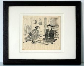 Japanese Woodblock Print - 1800's - Original Antique Print -  Mizuno Toshikato - Japanese Art - Asian Art - Framed