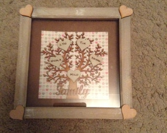 Boxed Frame Family Tree up to 6 names