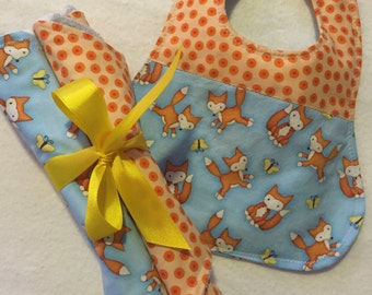 Baby Boy Burp Cloth & Bib Set, Baby Girl Burp Cloth and Bib Set, Baby Shower Gift Set, The Baby Fox and The Butterfly