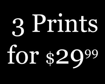 3 Photo Prints for 29.99 -- Choose ANY Three, Photo, Giclee, Art, Artwork, Picture, Home Decor, Gift, Painting