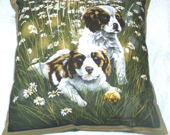 Adorable King Charles Spaniel pups and Daisies cushion