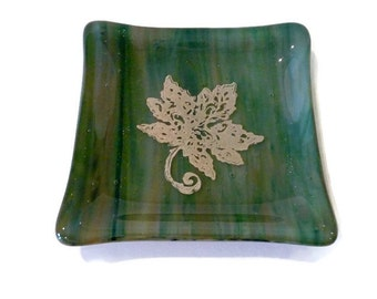 """Fused Glass 4.5"""" Sq. Dish - Olive, Forest Green & Brown Streak Glass Dish with a Gold Mica Leaf"""