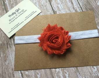 Orange shabby flower headband