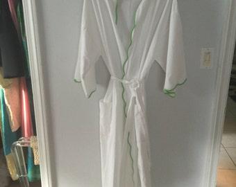 Cotton kimono robe with green scalloped trim, Barbara De Wolfe, NY