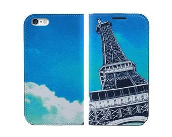 Wallet Phone Case, eiffel tower phone case, traveler phone case, iPhone 4, iPhone 5, iPhone 6, 6s, 6s Plus Case, Samsung Galaxy S4, S5, S6