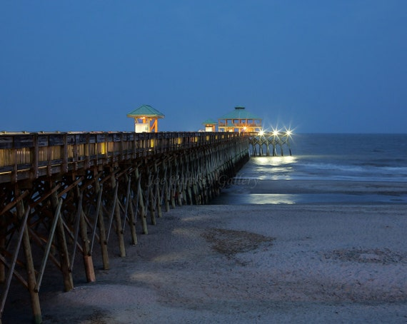 evening at folly beach fishing pier james island charleston