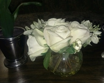 SEt of 3 white flowers with Vases.