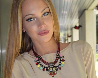Multicolored stone necklace on cord