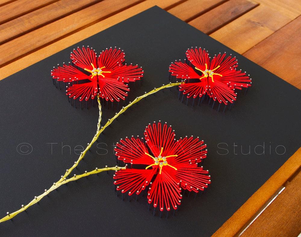 String art flowers plumeria string art red by for Art flowers
