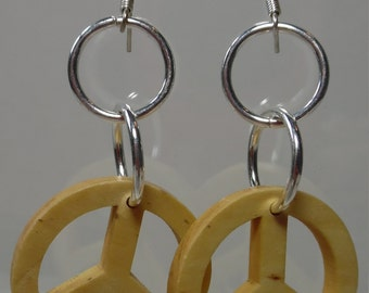 Wooden Peace Signs on SP Rings with SP Ear Wires