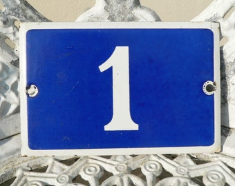 Vintage French blue and white thick enamel house or gate number 1 (one) - No 1.