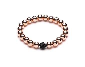 Unity black ball Bracelet • 8 mm • Rosé gold