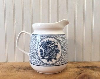 Vintage farmhouse transferware pitcher kitchen decor cottage kitchen blue and white decor