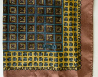 1970s Liberty Silk Gents Pocket Square Handkerchief