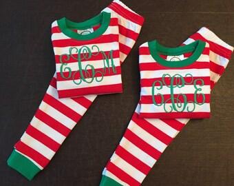 Christmas Pajamas/ Personalized Pajamas/ Christmas PJs/ Christmas Jammies/ Monogrammed Pajamas/ Sewthern/ Sewthern Creations