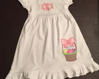 Easter Dress/Easter Basket/Sewthern Creations/Sewthern/Easter Eggs/Personalized Easter Dress/Monogrammed Easter Dress