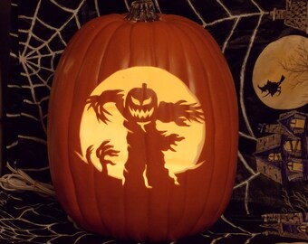 Spooky Scarecrow hand carved foam pumpkin that comes w/ an orange light  with 5.5ft. white cord.