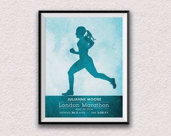 marathon print, personalised art, personalised marathon print, runner print, runner art, marathon wall art, female runner, female marathon