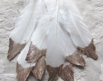 White Feathers with Gold Glitter