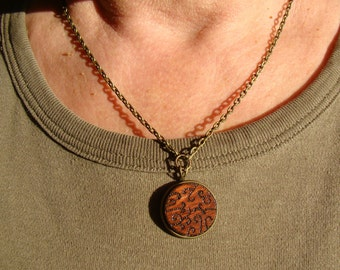wooden necklace, wooden pendant, woodburned pendant, pyrography pendant, woodburned necklace, rustic pendant, pyrography necklace