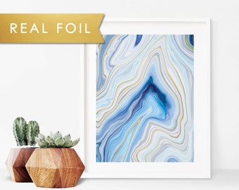 Blue Abstract Agate Marble Art Print with Real Gold Foil