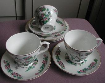 Vintage Mayfair Staffordshire English Fine Bone China 12 Piece Tea Set Indian Tree Design