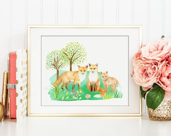 No. 52 Watercolor fox family digital print for Instant Download