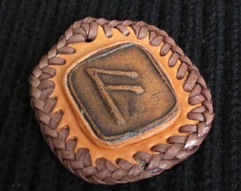 "Leather Pendant with Ceramic Cabochon ""Celtic Rune"" Boho Pendant Unique Woman"