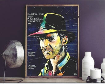 """RAIDERS Of The Lost Ark Polish movie poster Harrison Ford face -Limited Edition 2015 ! Size: 18 3/4"""" x 26 1/2"""" [48 x 67 cm + Certificate"""