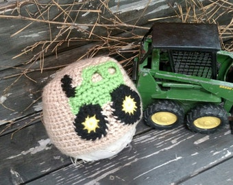 Crochet Tan Baby Beanie with Tractor