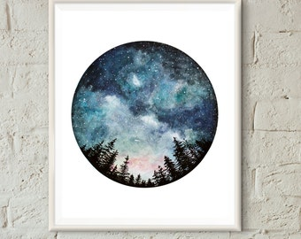 Watercolor Art Print, Starry Sky, Forest Art, Circle Art, Home Decor, Night Sky, Nature Print, Space Art, Tree Art, Landscape Print