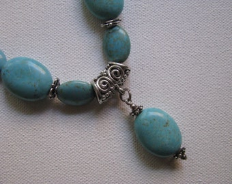 Turquoise Howlite and Sterling Necklace with Pendant