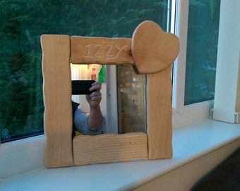 Mirror - Personalised handmade wooden mirror with heart - Made to order