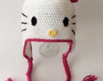 Girls HELLO KITTY Hat, Toddler Hat, Baby Hat