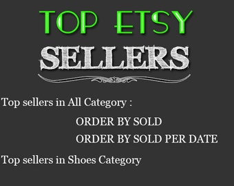 Top Etsy sellers Top selling shops Most popular shop Best sellers Top sellers in Shoes Category Top Sellers all Category, TOP 1000 SHOP