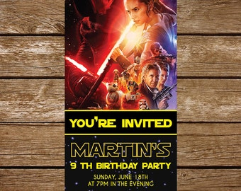 Galaxy wars Birthday Party Invitation / Digital printabe invitation / Star wars invitation / birthday invitation - FREE card THANK YOU | M28