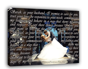 Custom Photo to Canvas with Lyrics, Vows, Bible Verses, Wedding Gallery Wrapped Photo, Personalized Gift for Him/Her, First Dance Lyrics