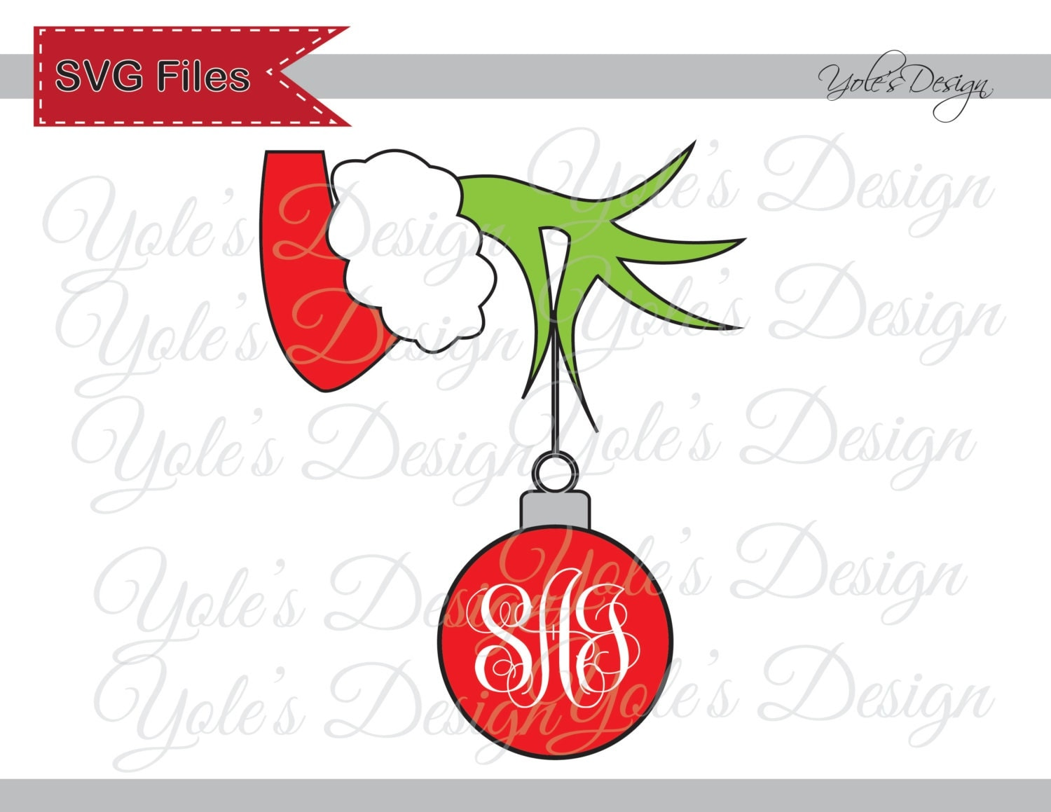 Grinch SVG Christmas Inspired Monogram Font NOT by YoleDesign