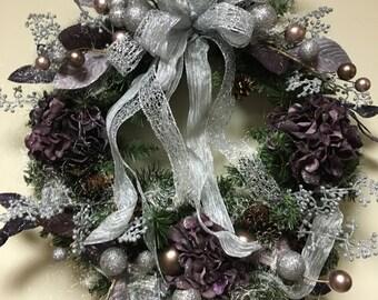 Beautiful silver and plum designer wreath