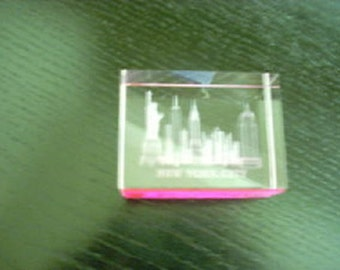 New York City 3D Skyline Glass Display Ornament and Paper Weight